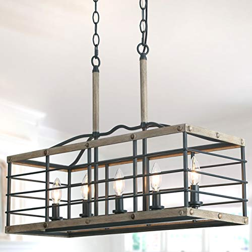 Farmhouse Chandelier For Dining Room Rectangle 5 Light Kitchen Island Lighting Faux Wood Finish 0
