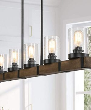 Farmhouse Chandeliers For Dining Room5 Lights Kitchen Island LightingRectangle Wood Chandeliers With Seedy Glass Shape 0 300x360