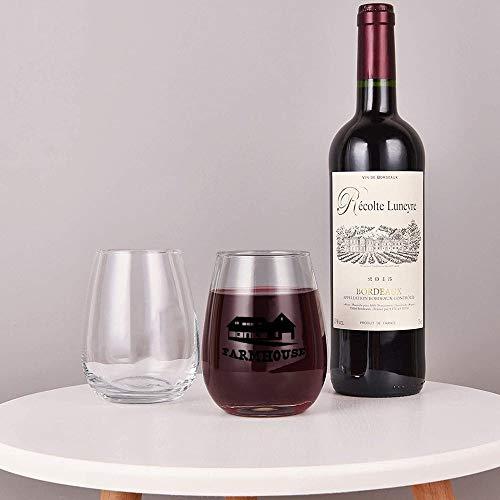 Farmhouse Stemless Wine GlassWine Taster Glasses For Men Decorative Wine Glass Etched Wine Glass Sandblasted Engraved Wine Glass 0 0