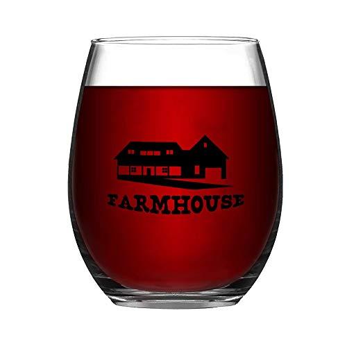 Farmhouse Stemless Wine GlassWine Taster Glasses For Men Decorative Wine Glass Etched Wine Glass Sandblasted Engraved Wine Glass 0