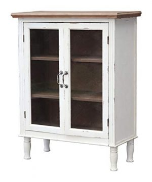 Farmhouse Wood Cabinet With 2 Glass Doors And 3 Shelves Distressed White And Natural Wood Storage Cabinet For Kitchen Dinning Room Bathroom Vintage Wood Furniture 33 18 X 15 12 X 42 34 Inches 0 300x360