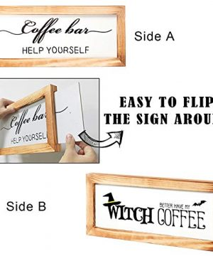 Flinelife Coffee Bar Sign Witch Better Have My Coffee 2 Sides Farmhouse Kitchen Decor Rustic Kitchen Sign Kitchen Wall Decor Rustic Home Decor Vintage Coffee Signs For Coffee Bar 17x7 Inch 0 0 300x360