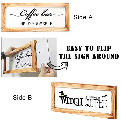 Flinelife Coffee Bar Sign Witch Better Have My Coffee 2 Sides Farmhouse Kitchen Decor Rustic Kitchen Sign Kitchen Wall Decor Rustic Home Decor Vintage Coffee Signs For Coffee Bar 17x7 Inch 0 0