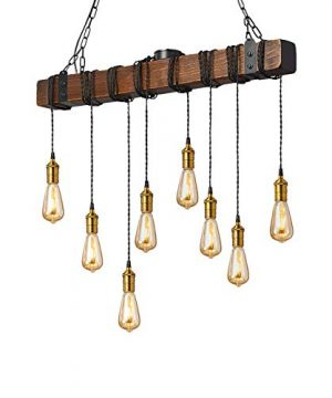 Flordeer Farmhouse Chandelier Rustic Pendant Lighting Industrial Wood Metal Vintage Ceiling Light Fixture 8 E26 Bulb Lights For Dining Table Kitchen Island Bar Retro Hanging Lamp 374 Inches 0 300x360