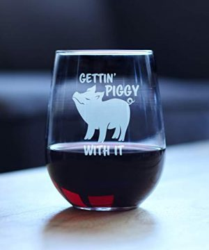 Gettin Piggy With It Cute Funny Stemless Wine Glass Pig Decor Gifts For Lovers Of Swine And Wine Large 17 Oz Glasses 0 0 300x360