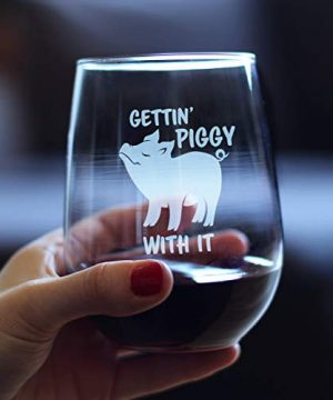 Gettin Piggy With It Cute Funny Stemless Wine Glass Pig Decor Gifts For Lovers Of Swine And Wine Large 17 Oz Glasses 0 1 300x360