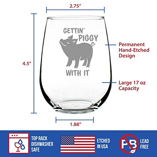 Gettin Piggy With It Cute Funny Stemless Wine Glass Pig Decor Gifts For Lovers Of Swine And Wine Large 17 Oz Glasses 0 2