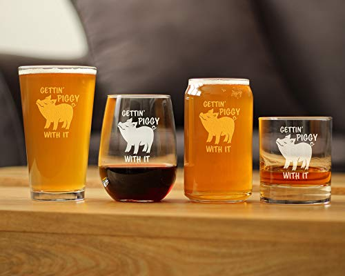 Gettin Piggy With It Cute Funny Stemless Wine Glass Pig Decor Gifts For Lovers Of Swine And Wine Large 17 Oz Glasses 0 3