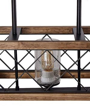 Giluta Rectangle Wood Metal Pendant Light Kitchen Island Chandelier Black Finish Rustic Industrial Chandelier Vintage Ceiling Light Fixture 5 Lights With Glass Shade 17810 0 2 300x360