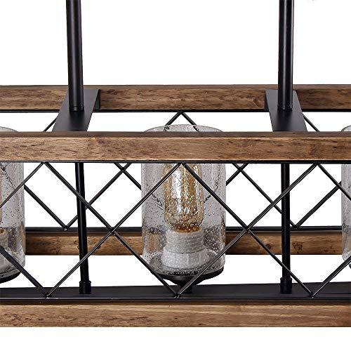 Giluta Rectangle Wood Metal Pendant Light Kitchen Island Chandelier Black Finish Rustic Industrial Chandelier Vintage Ceiling Light Fixture 5 Lights With Glass Shade 17810 0 2