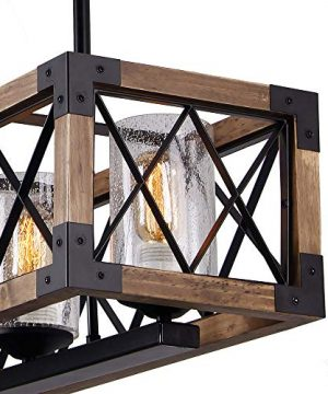 Giluta Rectangle Wood Metal Pendant Light Kitchen Island Chandelier Black Finish Rustic Industrial Chandelier Vintage Ceiling Light Fixture 5 Lights With Glass Shade 17810 0 3 300x360