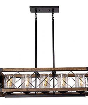 Giluta Rectangle Wood Metal Pendant Light Kitchen Island Chandelier Black Finish Rustic Industrial Chandelier Vintage Ceiling Light Fixture 5 Lights With Glass Shade 17810 0 4 300x360