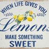 HERYNLRN Retro Tin Signs Vintage Style When Life Gives You Lemons Make Something Sweet Metal Sign Iron Painting For Indoor Outdoor Home Bar Coffee Kitchen Wall Decor 12 X 8 INCH 0 100x100