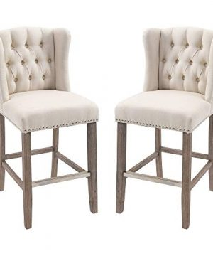 HOMCOM 2 Pack Counter Height Nailhead Trim Barstools With Tufted Back Solid Wood Legs And Footrest 41 H Beige 0 300x360
