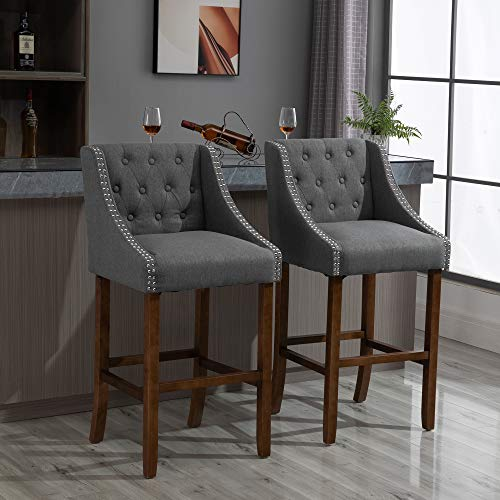 HOMCOM Modern Mid Back Bar Stools With Nailhead Tufted Upholstery Counter Dining Chair Set Of 2 Dark Grey 0 0