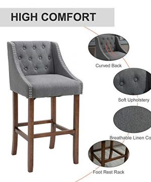 HOMCOM Modern Mid Back Bar Stools With Nailhead Tufted Upholstery Counter Dining Chair Set Of 2 Dark Grey 0 1 300x360