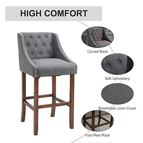 HOMCOM Modern Mid Back Bar Stools With Nailhead Tufted Upholstery Counter Dining Chair Set Of 2 Dark Grey 0 1