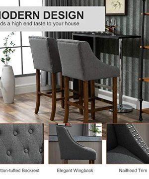 HOMCOM Modern Mid Back Bar Stools With Nailhead Tufted Upholstery Counter Dining Chair Set Of 2 Dark Grey 0 2 300x360
