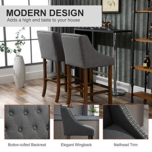 HOMCOM Modern Mid Back Bar Stools With Nailhead Tufted Upholstery Counter Dining Chair Set Of 2 Dark Grey 0 2