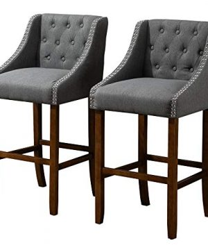 HOMCOM Modern Mid Back Bar Stools With Nailhead Tufted Upholstery Counter Dining Chair Set Of 2 Dark Grey 0 300x360