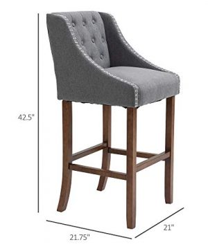 HOMCOM Modern Mid Back Bar Stools With Nailhead Tufted Upholstery Counter Dining Chair Set Of 2 Dark Grey 0 5 300x360