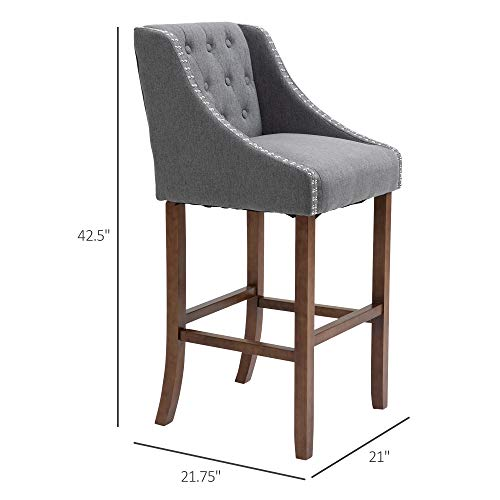 HOMCOM Modern Mid Back Bar Stools With Nailhead Tufted Upholstery Counter Dining Chair Set Of 2 Dark Grey 0 5