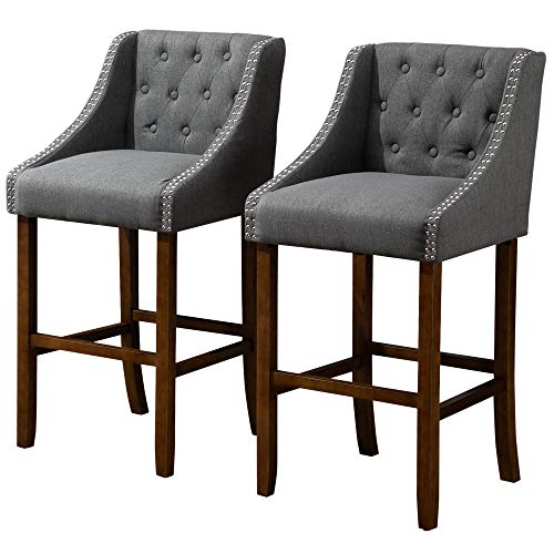 HOMCOM Modern Mid Back Bar Stools With Nailhead Tufted Upholstery Counter Dining Chair Set Of 2 Dark Grey 0
