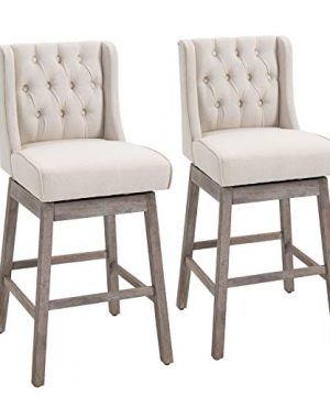 HOMCOM Set Of 2 Bar 180 Degree Swivel Stool Chairs With Solid Wood Footrests And Button Tufted Design Beige 0 300x360