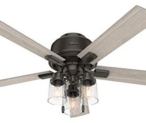 HUNTER 50313 Low Profile Indoor Ceiling Fan With LED Lights And Pull Chain 52 Noble Bronze 0 300x254