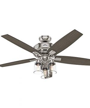 HUNTER 54190 Bennett Indoor Ceiling Fan With LED Light And Remote Control 52 Brushed Nickel 0 300x360