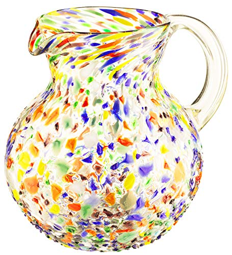 Hand Blown Mexican Glass Pitcher Confetti Rock Design 84 Ounces Colorful Beverage Pitcher For Homemade Juice Iced Tea By The Wine Savant 0