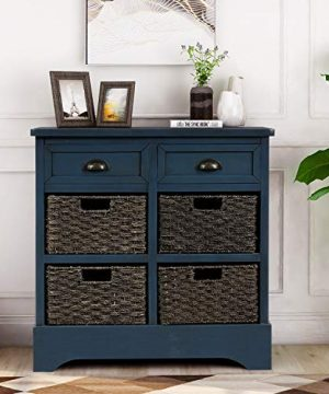 Harper Bright Designs Rustic Storage Cabinet With Two Drawers And Four Classic Fabric Basket For KitchenDining RoomEntrywayLiving Room Accent Furniture Antique Navy 0 300x360