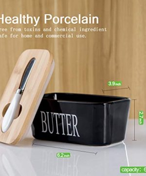 Hasense Porcelain Butter Dish With Wooden Lid Covered Butter Keeper With Butter Knife For Countertop Airtight Butter Container With Cover Black 0 0 300x360