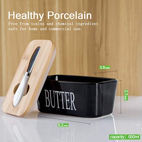 Hasense Porcelain Butter Dish With Wooden Lid Covered Butter Keeper With Butter Knife For Countertop Airtight Butter Container With Cover Black 0 0