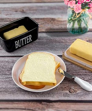 Hasense Porcelain Butter Dish With Wooden Lid Covered Butter Keeper With Butter Knife For Countertop Airtight Butter Container With Cover Black 0 1 300x360