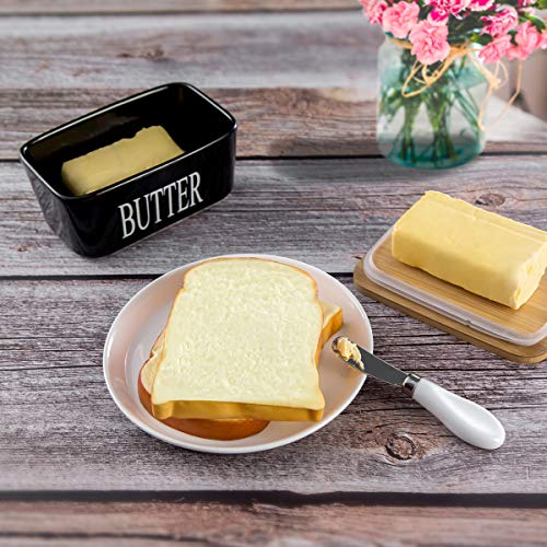 Hasense Porcelain Butter Dish With Wooden Lid Covered Butter Keeper With Butter Knife For Countertop Airtight Butter Container With Cover Black 0 1
