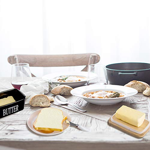 Hasense Porcelain Butter Dish With Wooden Lid Covered Butter Keeper With Butter Knife For Countertop Airtight Butter Container With Cover Black 0 2