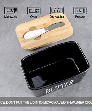 Hasense Porcelain Butter Dish With Wooden Lid Covered Butter Keeper With Butter Knife For Countertop Airtight Butter Container With Cover Black 0 3 300x360