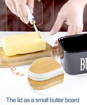 Hasense Porcelain Butter Dish With Wooden Lid Covered Butter Keeper With Butter Knife For Countertop Airtight Butter Container With Cover Black 0 4 300x360