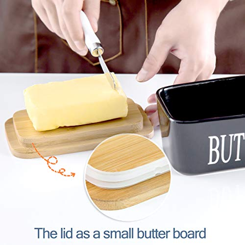 Hasense Porcelain Butter Dish With Wooden Lid Covered Butter Keeper With Butter Knife For Countertop Airtight Butter Container With Cover Black 0 4