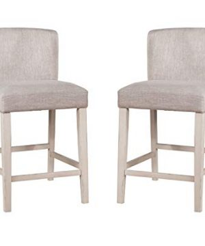 Hillsdale Furniture Hillsdale Clarion Upholstered Wing Arm Height Non Swivel Counter Stool Set Sea White 0 300x360