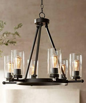 Holman Bronze Wagon Wheel Chandelier 26 34 Wide Rustic Farmhouse Clear Glass 6 Light Fixture For Dining Room House Foyer Entryway Kitchen Bedroom Living Room High Ceilings Franklin Iron Works 0 300x360