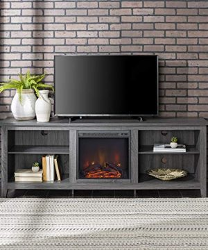 Home Accent Furnishings Lucas 70 Inch Television Stand With Fireplace In Charcoal 0 300x360