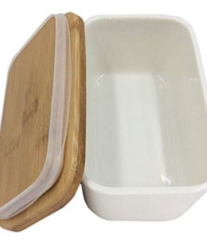 Hoocozi Large Butter Dish With Bamboo Lid White Porcelain Butter Keeper Butter Container Food Storage Candy Box Holds Up To 2 Sticks Of Butter Family Or Friends Gift650ml 0 0 300x360