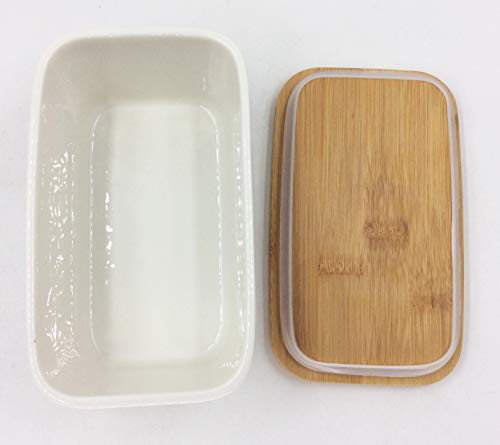 Hoocozi Large Butter Dish With Bamboo Lid White Porcelain Butter Keeper Butter Container Food Storage Candy Box Holds Up To 2 Sticks Of Butter Family Or Friends Gift650ml 0 2