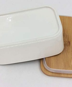 Hoocozi Large Butter Dish With Bamboo Lid White Porcelain Butter Keeper Butter Container Food Storage Candy Box Holds Up To 2 Sticks Of Butter Family Or Friends Gift650ml 0 3 300x360