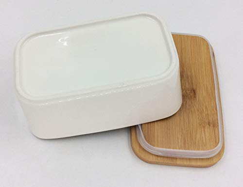 Hoocozi Large Butter Dish With Bamboo Lid White Porcelain Butter Keeper Butter Container Food Storage Candy Box Holds Up To 2 Sticks Of Butter Family Or Friends Gift650ml 0 3