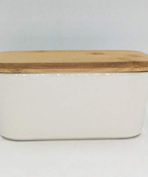 Hoocozi Large Butter Dish With Bamboo Lid White Porcelain Butter Keeper Butter Container Food Storage Candy Box Holds Up To 2 Sticks Of Butter Family Or Friends Gift650ml 0 4 300x360