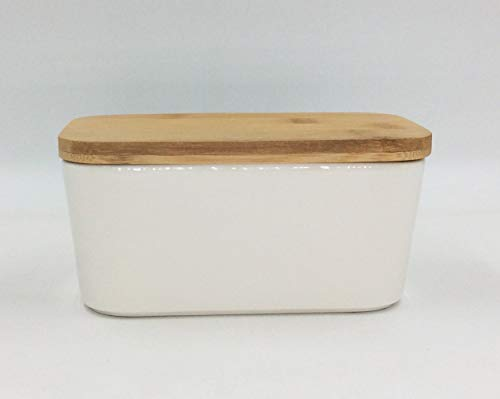 Hoocozi Large Butter Dish With Bamboo Lid White Porcelain Butter Keeper Butter Container Food Storage Candy Box Holds Up To 2 Sticks Of Butter Family Or Friends Gift650ml 0 4