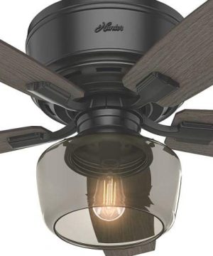 Hunter Bennett Indoor Low Profile Ceiling Fan With LED Light And Remote Control 52 Matte Black 0 1 300x360